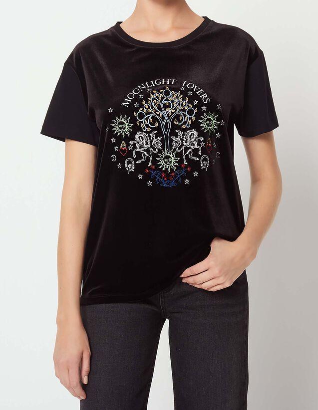 산드로 산드로 Sandro Embroidered T-shirt,Black