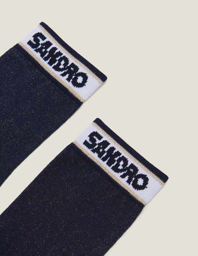 산드로 Sandro 로고 양말 Andro Lurex Socks With Sandro Logo,Navy Blue