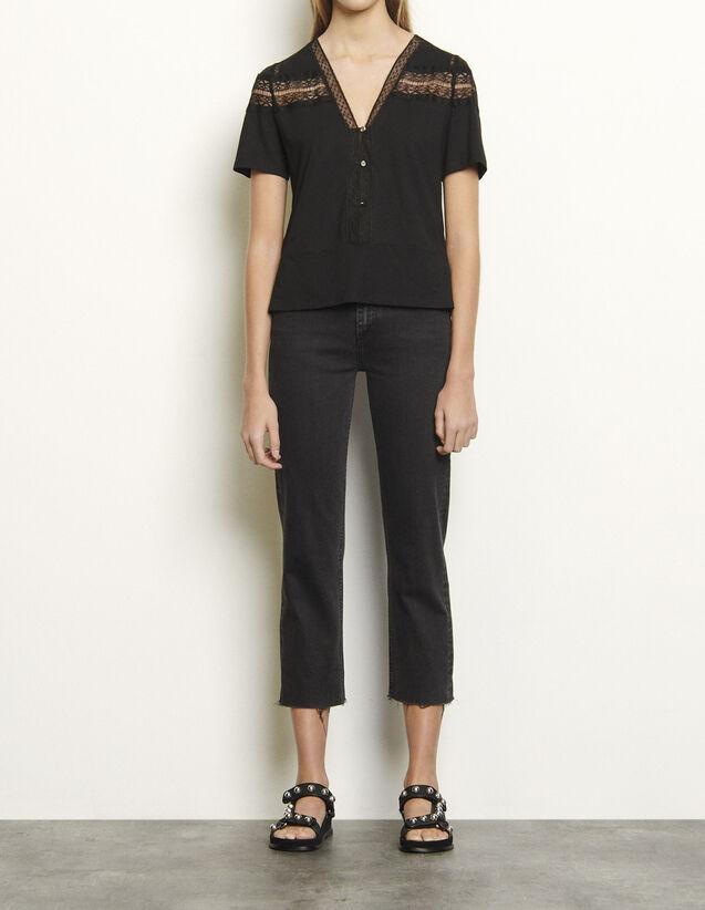 산드로 티셔츠 Sandro T-Shirt with lace,Black