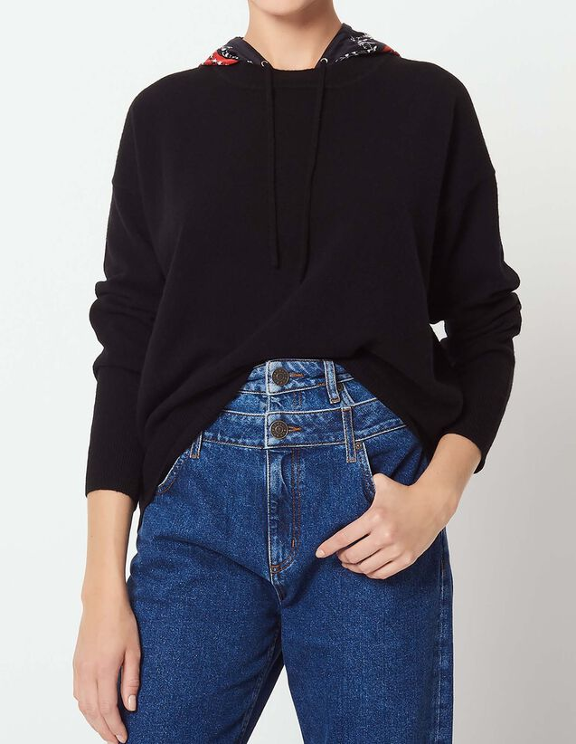 산드로 산드로 Sandro Sweater with printed hoodie scarf,Black
