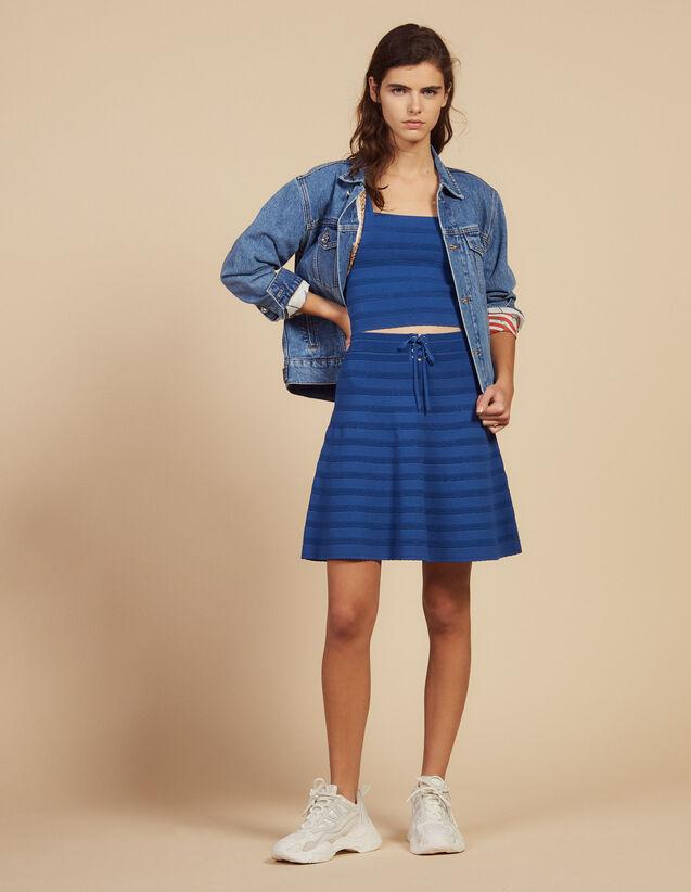 산드로 Sandro Short flared knit skirt,Blue Jean