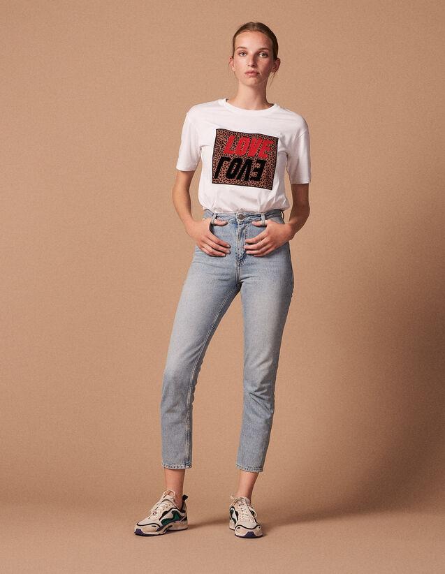 산드로 Sandro High-waisted washed jeans,Blue Vintage - Denim