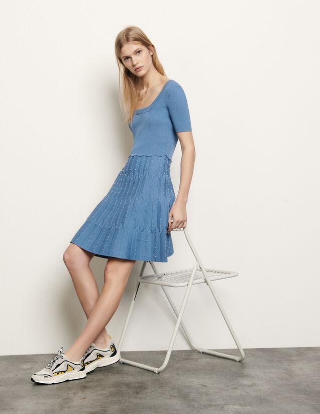 산드로 스퀘어넥 니트 원피스 - 스카이 블루 Sandro Knit dress with square neckline