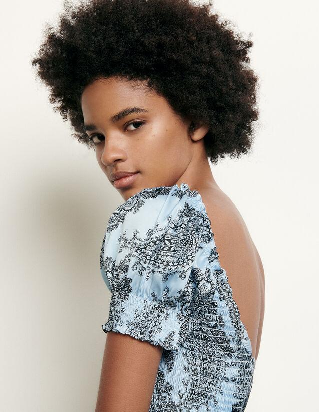 산드로 크롭 탑 Sandro Cropped smocked top with print,Blue