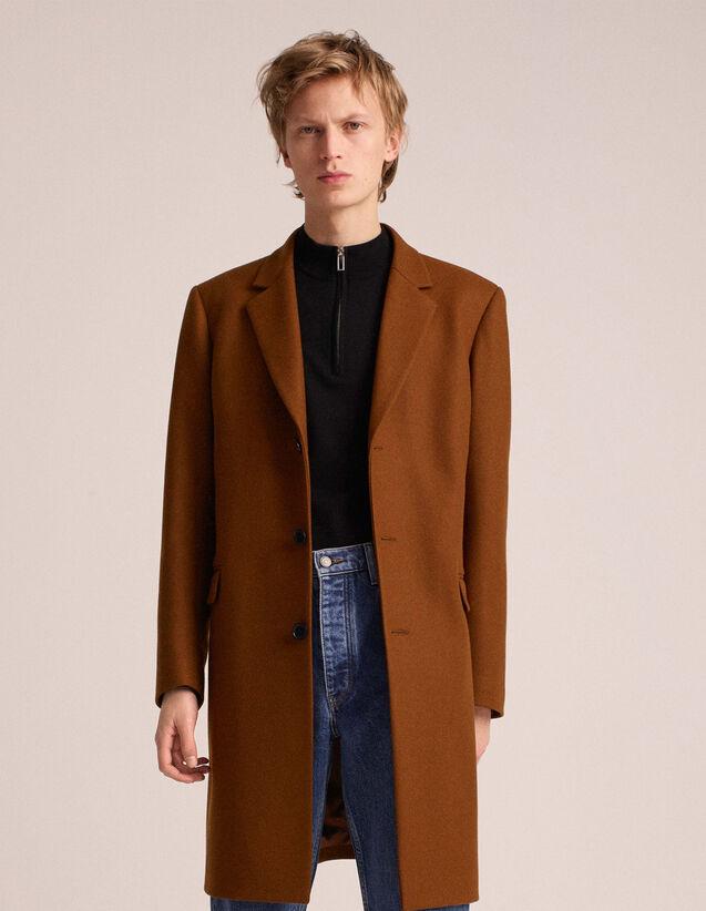 산드로 Sandro Woolcloth and cashmere coat,Cognac