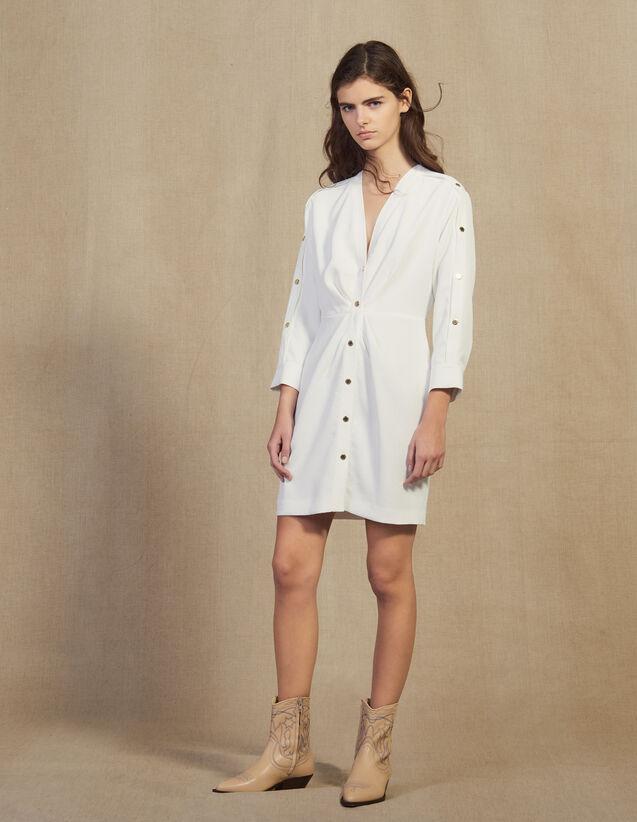 산드로 Armelia 골드 버튼 원피스 - 크림 (김하늘, 유인나, 보라 착용) Sandro Short Dress With Gold-Tone Press Studs,Ecru