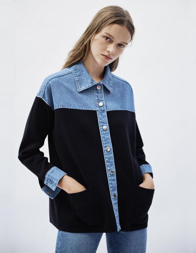 산드로 Sandro Dual material jacket style cardigan,Deep Navy