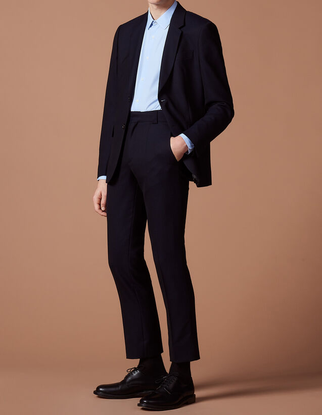 산드로 Sandro Pique wool suit jacket,Navy Blue