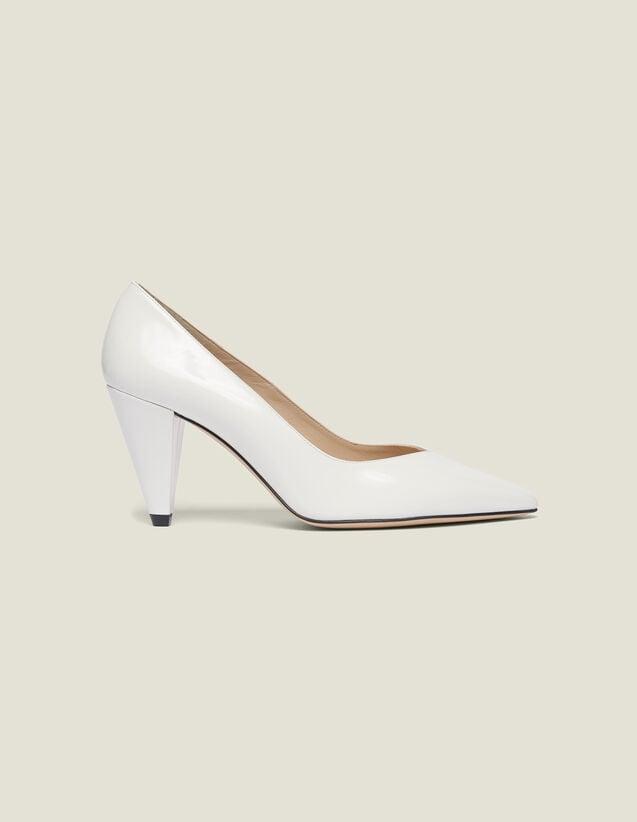 산드로 구두 Enita Sandro Patent Leather Heeled Shoes,white