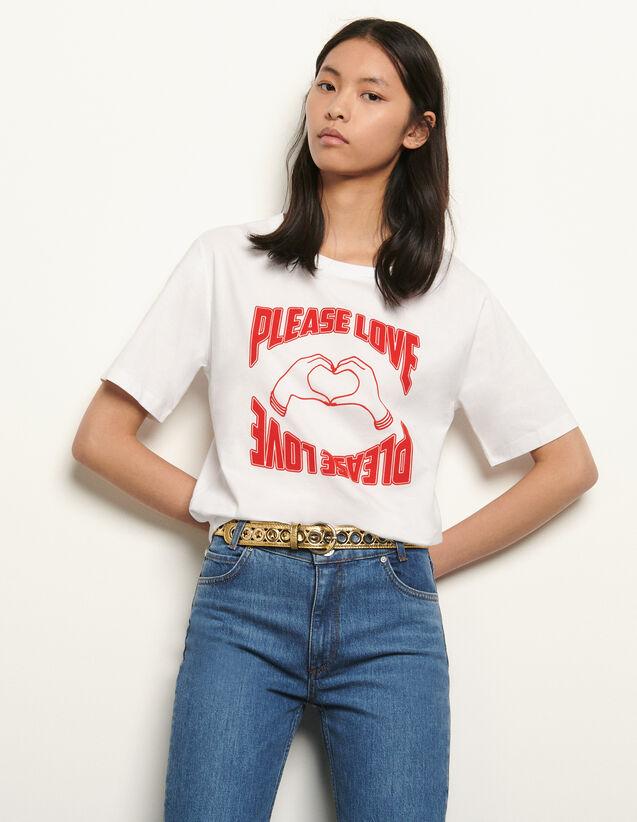 산드로 티셔츠 Sandro Organic cotton T-shirt,white