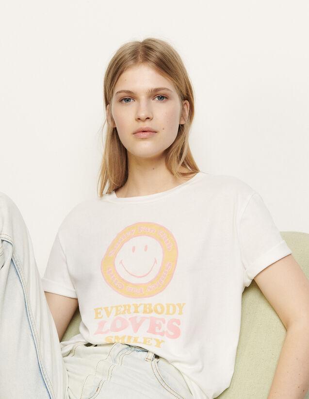 산드로 티셔츠 Sandro T-shirt with flocked motif,White / Yellow