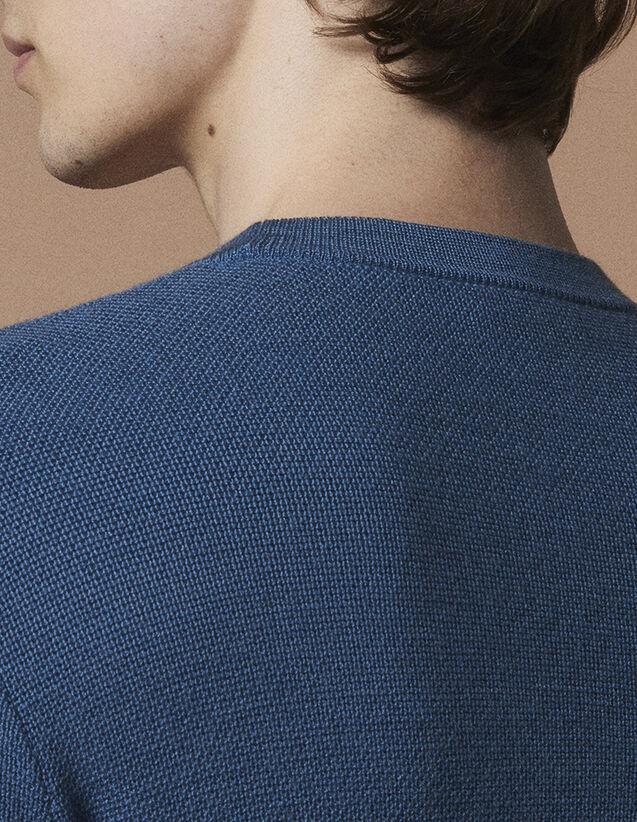 산드로 Sandro Fine fancy stitch sweater,Steel blue
