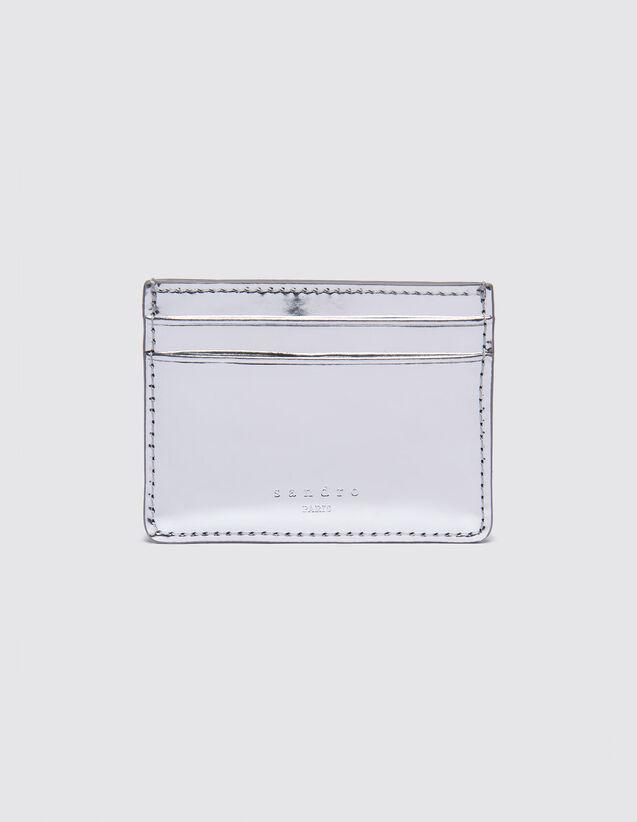 산드로 Sandro Metallic patent leather card holder,Silver