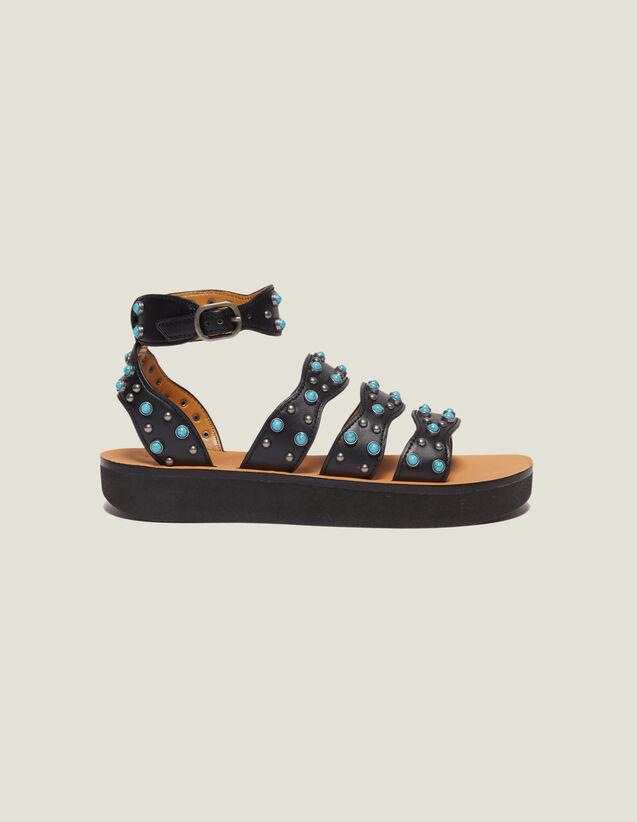 산드로 샌들 Onya Sandro Wedge Sandals With Beading,Black