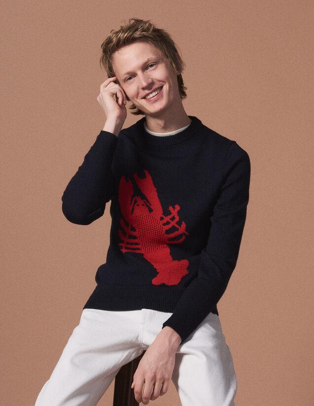 산드로 산드로 Sandro Round neck sweater with lobster motif,Navy Blue