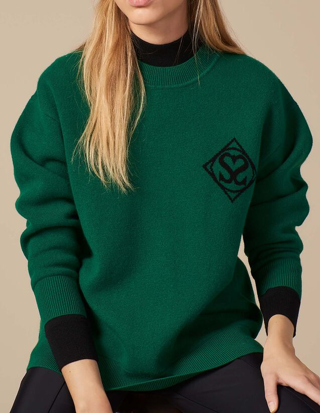 산드로 Amerisier 산드로 로고 스웨터 Sandro Round neck sweater with Sandro logo,Green