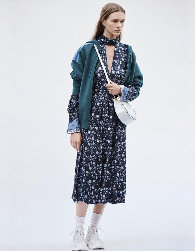 산드로 Sandro Dual fabric hoodie cardigan,Green