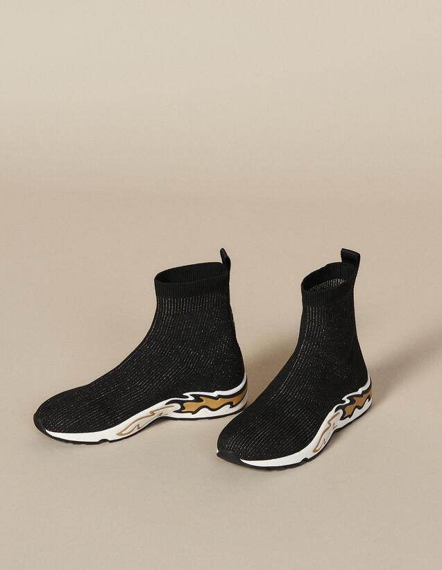 산드로 스니커즈 Sandro Flame Sock Sneakers,black/gold