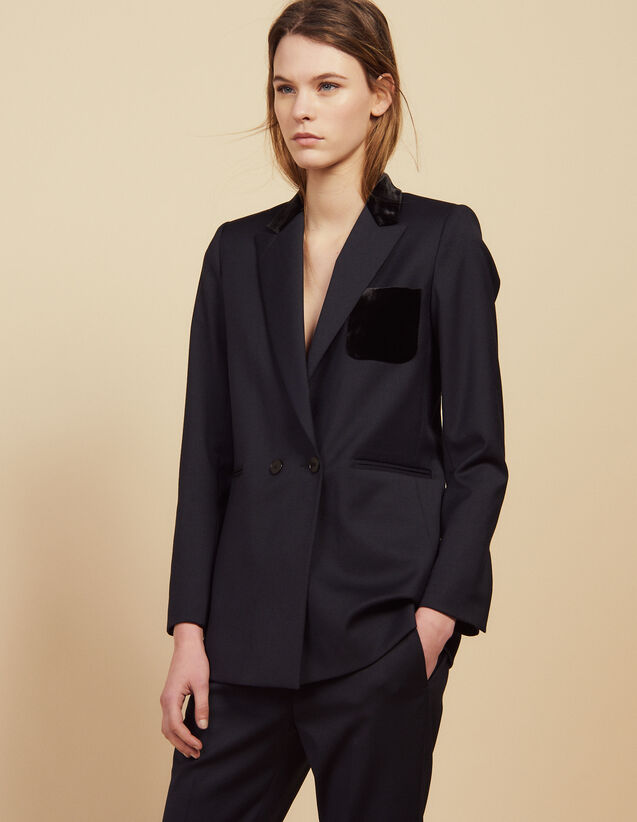 산드로 Sandro Tailored jacket with velour pocket,Navy Blue