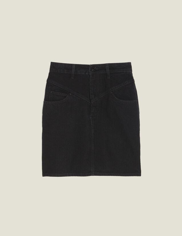 산드로 Sandro Short denim skirt,Black