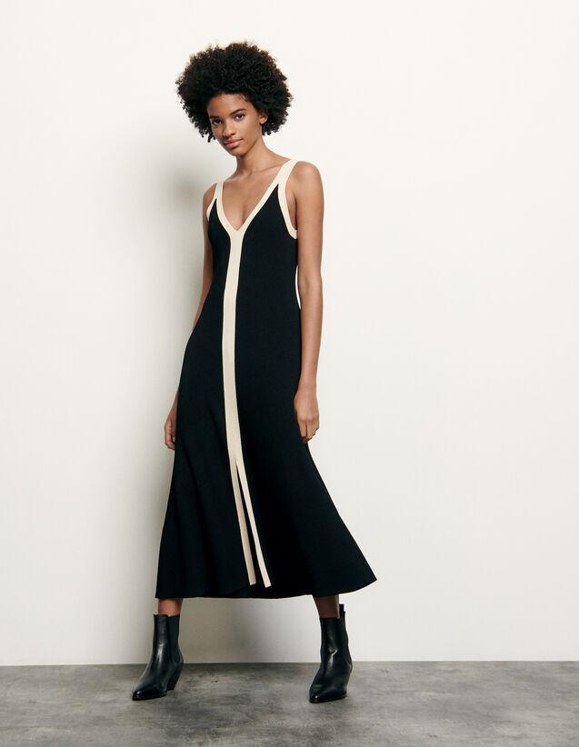 산드로 투톤 배색 니트 원피스 - 블랙 Sandro Long two-tone ribbed knit dress