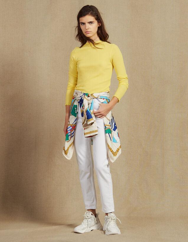 산드로 Than 파인 니트 슬림핏 스웨터 Sandro Fine knit sweater,Yellow