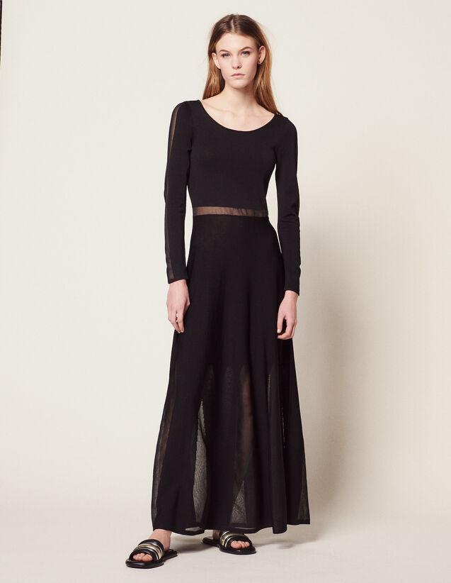 산드로 원피스 Sandro Long Knitted Dress With Open Back,Black