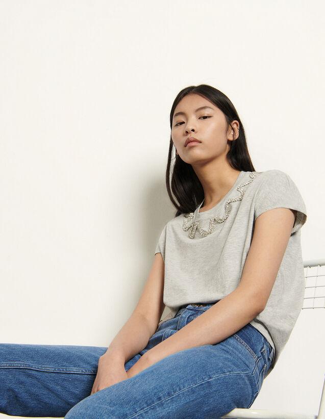 산드로 티셔츠 Sandro Sleeveless T-shirt with rhinestones,Grey