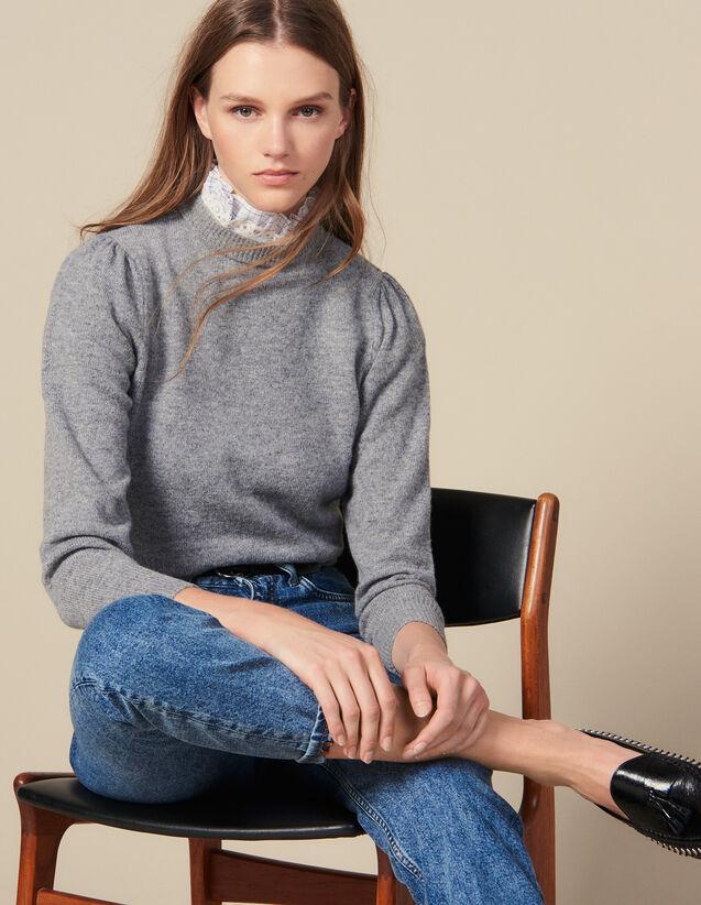 산드로 레이스 카라 스웨터 - 라이트 그레이 Sandro Sweater With Lace Collar,Light Grey