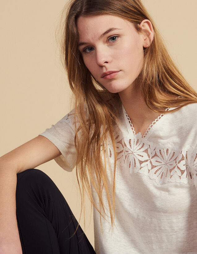산드로 Aleska Sandro Linen T-Shirt With Lace,Ecru