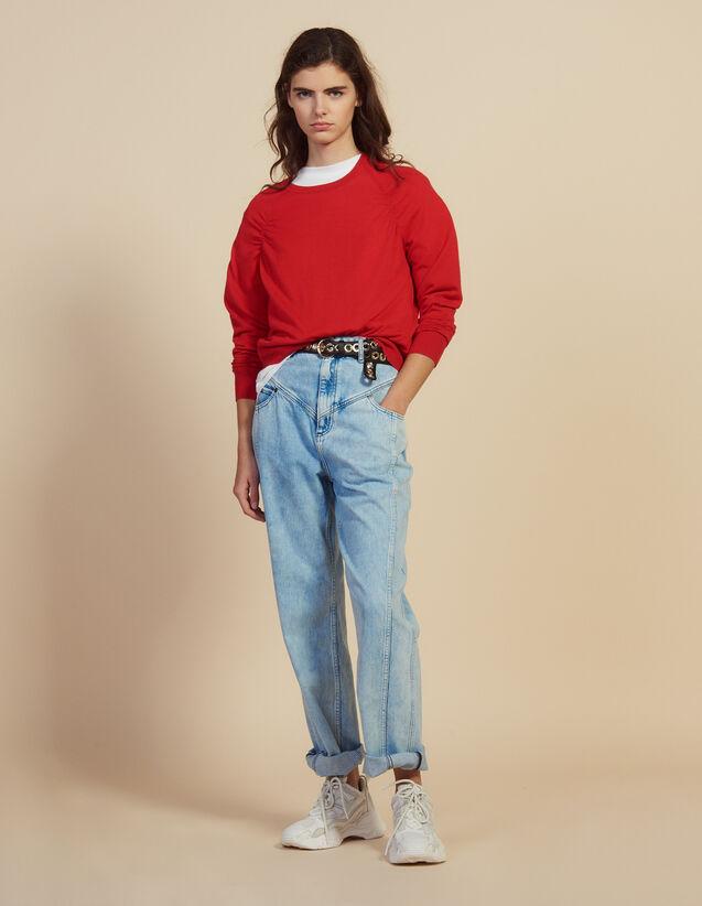 산드로 Na 암홀 라인 플리츠 스웨터 - 레드 Sandro Long-sleeved wool sweater,Red