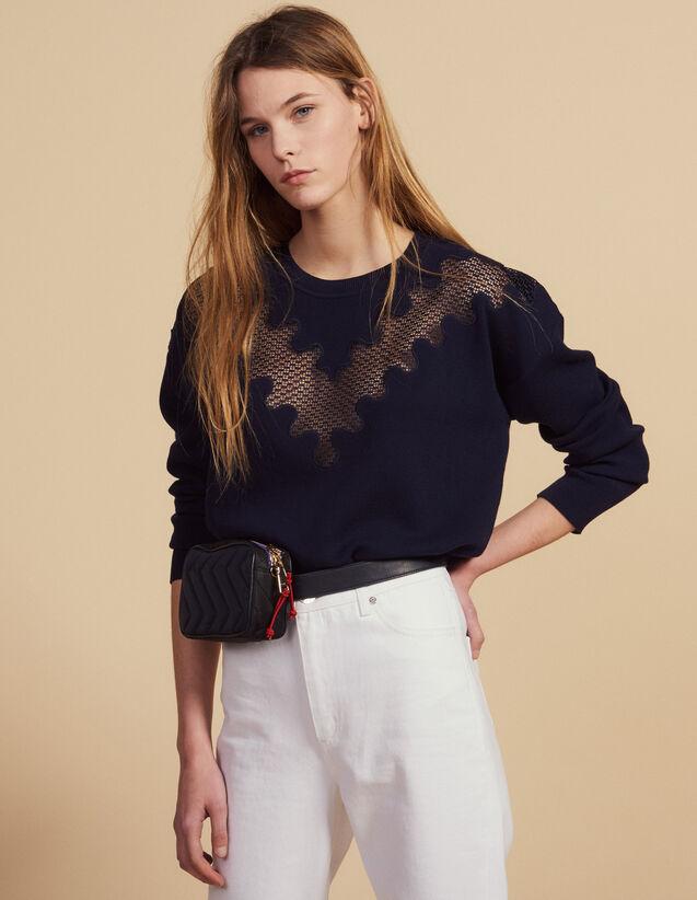 산드로 Délie 레이스 포인트 스웨터 Sandro Sweater with lace insert,Navy Blue