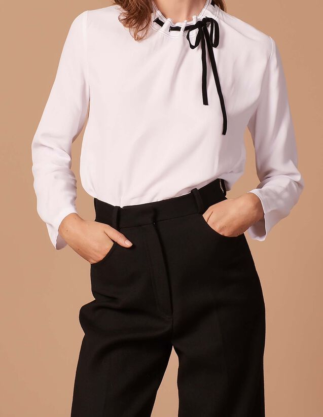 산드로 Iste 프린트 블라우스 탑 Sandro Top with contrasting tie,White