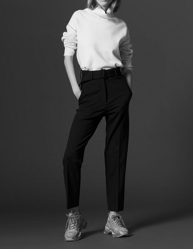 산드로 산드로 Sandro 7/8-length trousers with belt,Black