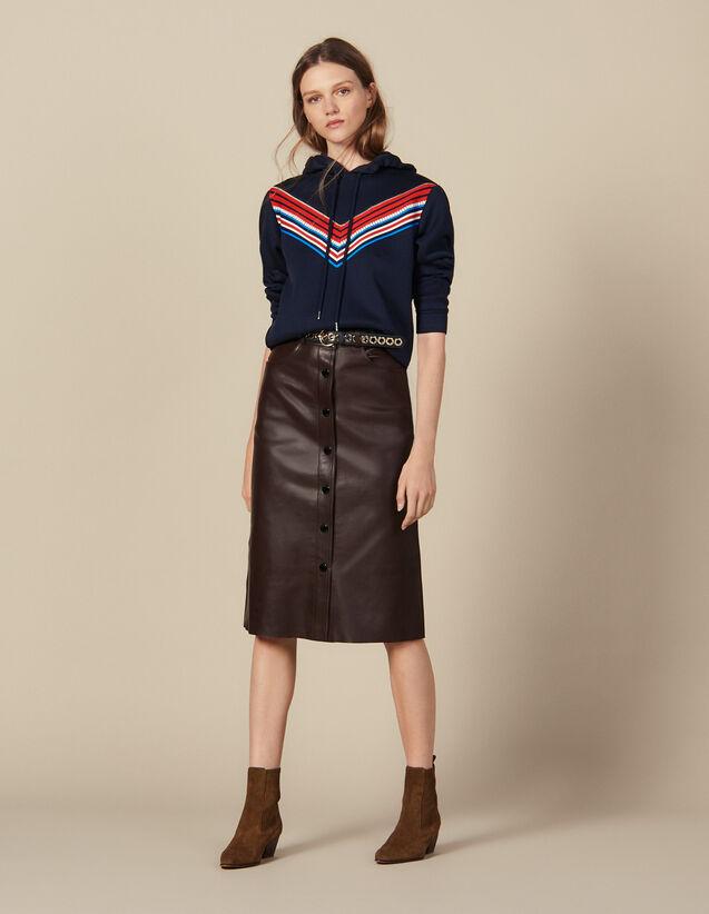 산드로 미디 가죽 스커트 Sandro Midi Leather Skirt,Brown