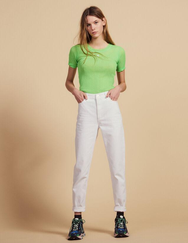 산드로 Redy 니트 반팔티 (장윤주 착용) Sandro Fluorescent knit T-shirt,Vert fluo