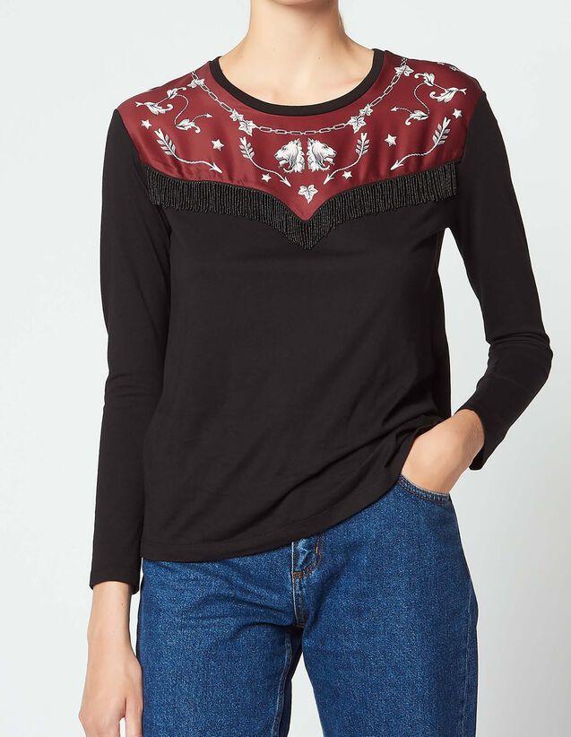 산드로 Riana 프린트 반팔 티셔츠 SANDRO T-shirt with printed insert,Black