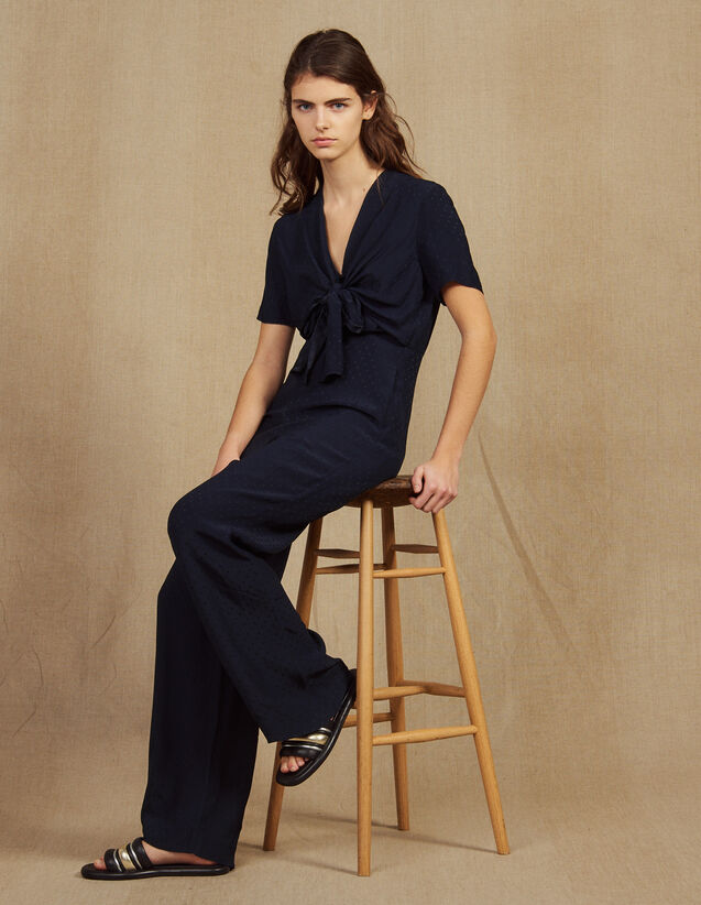 산드로 Uckie Sandro Flowing Jumpsuit,Navy Blue
