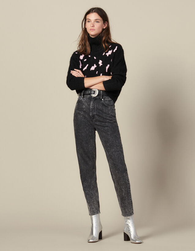 산드로 스웨터 Sandro Sweater With Contrasting Leopard Spots,Black