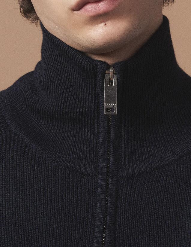 산드로 산드로 Sandro Medium ribbed cardigan with zip,Navy Blue