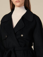 Double-Sided Wool Trench Coat : Coats color Black