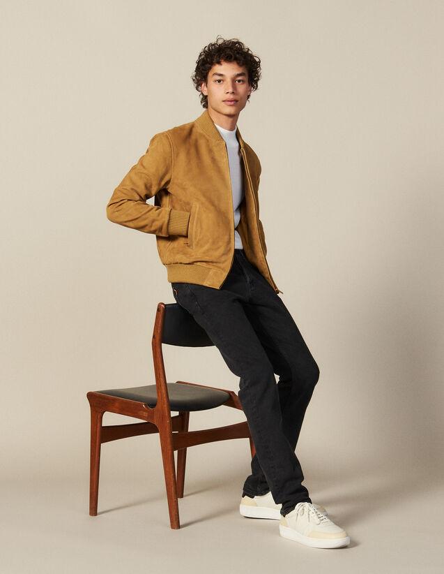 Suede Zipped Jacket : Coats & Jackets color Beige