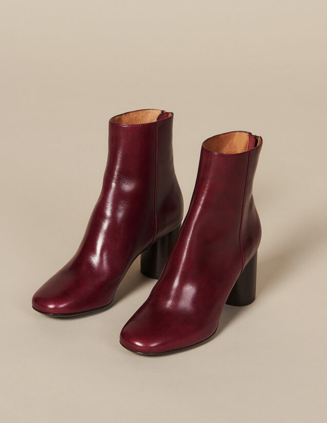 Leather Ankle Boots : Shoes color Bordeaux