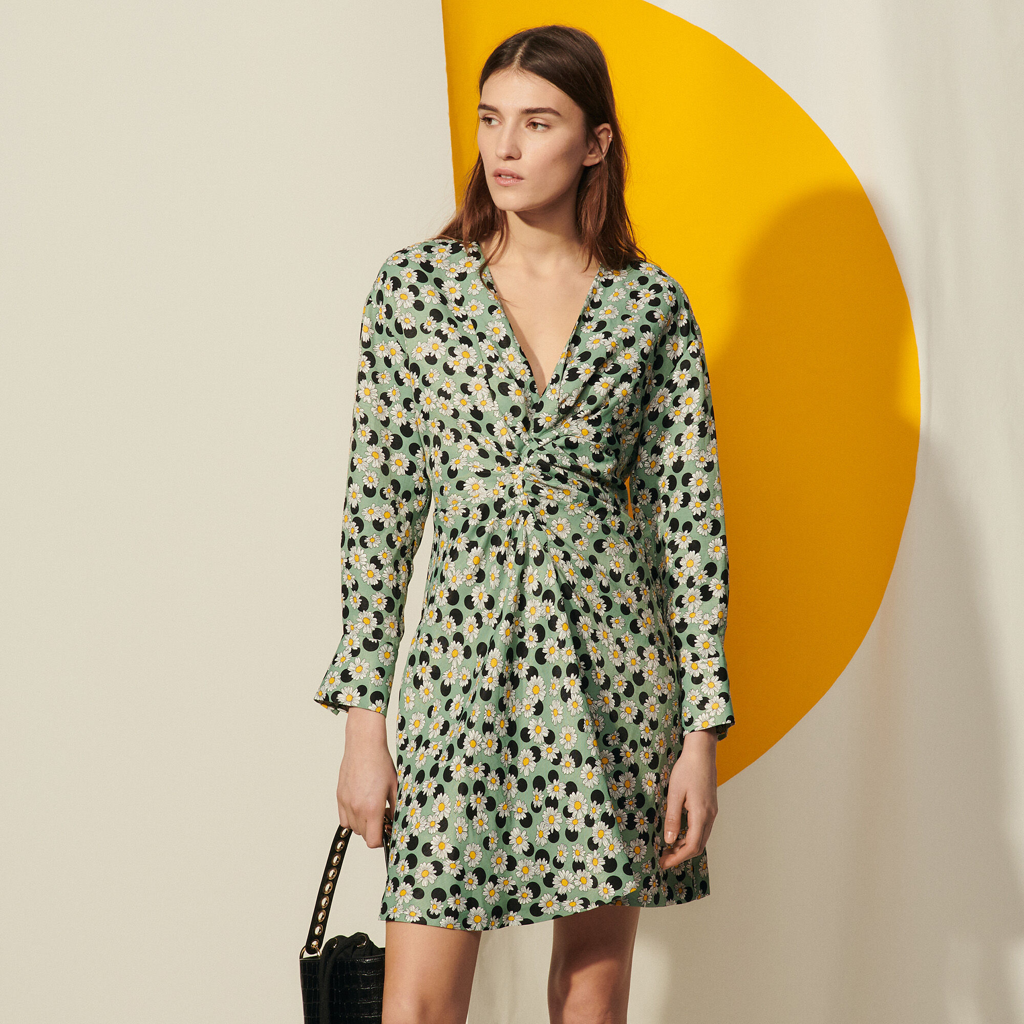 Sandro Short printed dress with gathers