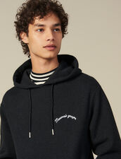 Hoodie With Lettering Embroidery : Sweatshirts color Dark Grey