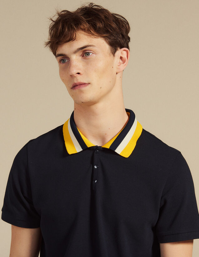 Cotton Polo Shirt With Varsity Collar : T-shirts & Polos color white