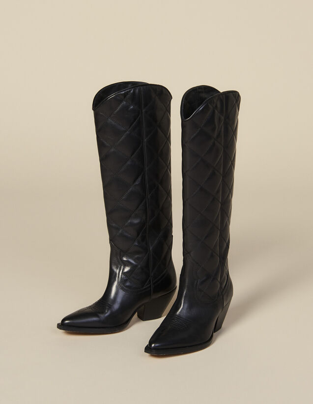 Quilted Leather Tall Cowboy Boots : Shoes color Black