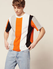 T-Shirt With Wide Stripes : T-shirts & Polos color Blue