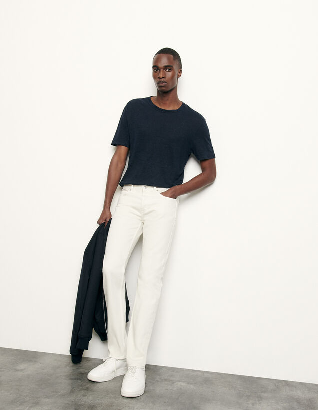 Cotton slim-fit jeans : Spring Pre-Collection color white