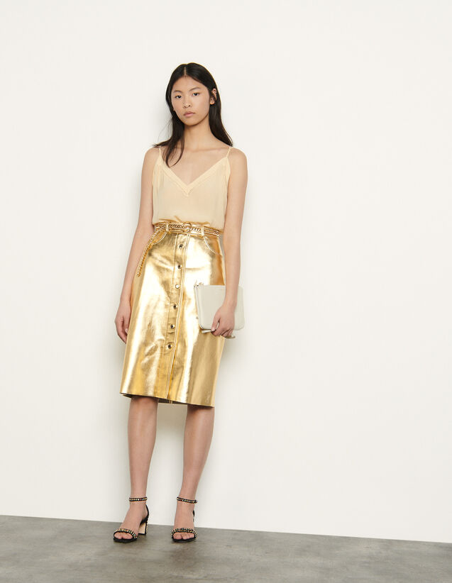 Metallic leather skirt : Spring Pre-Collection color Gold